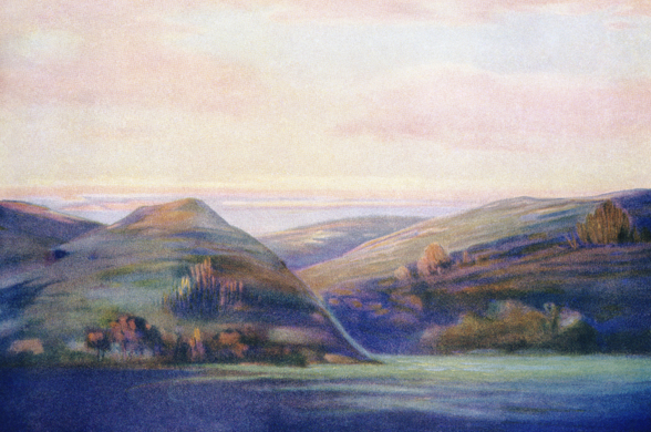 Mountains And Ocean At Sunset - C.1935, Hope Hayselden wall mural