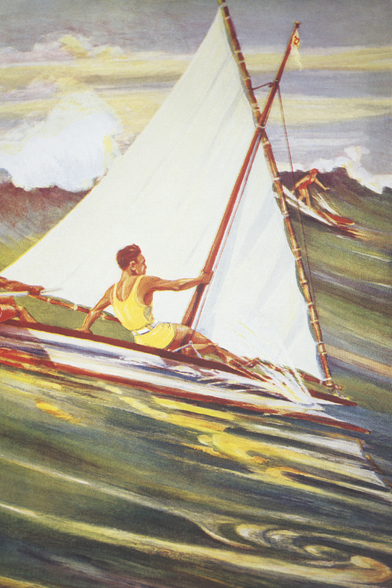 Man Windsurfing On Wave, C. 1921, Art By Gilles wall mural