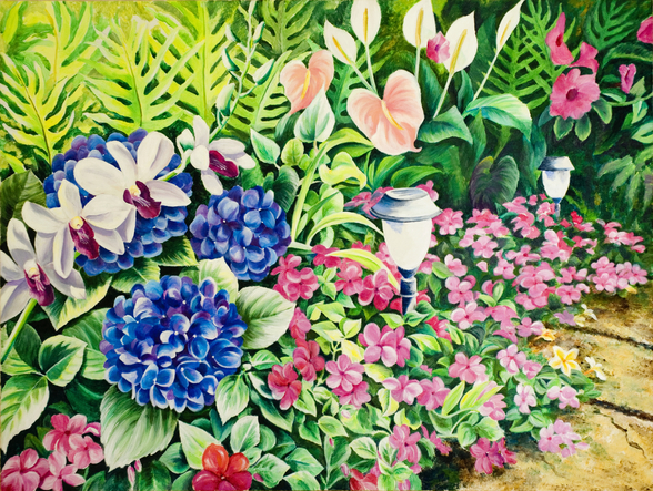 Beautiful Garden Of Flowers Along Stone Pathway wall mural