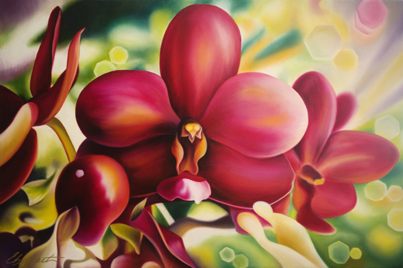 Beautiful Red Orchid mural wallpaper