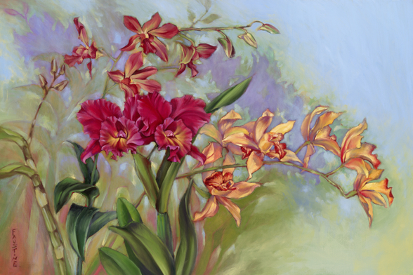 Red And Orange Orchids wall mural