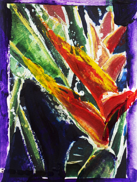 Heliconia - Batik On Rice Paper mural wallpaper