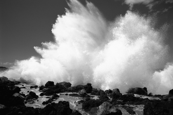 Huge Surf Crashing Along Lava Rock Shoreline wall mural
