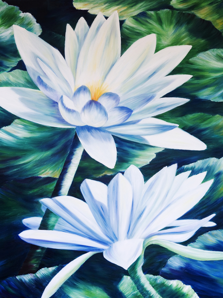 White Waterlilies In Pond - Oil Painting wall mural
