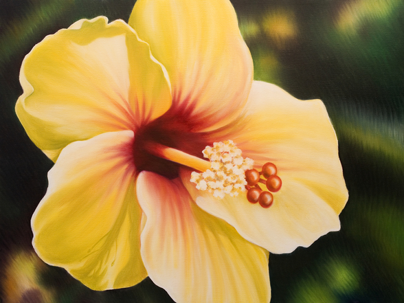 Yellow Hibiscus - Oil Painting wallpaper mural