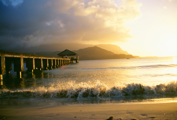 Hanalei Bay And Pier At Sunset wall mural