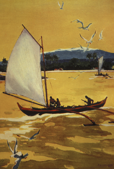 Outrigger Sailing Canoe Off Shore - C.1922 wall mural