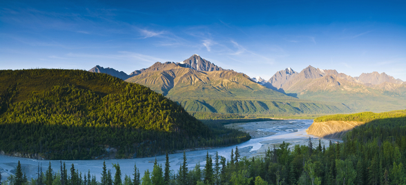 The Matanuska River And Chugach Mountains Below mural wallpaper