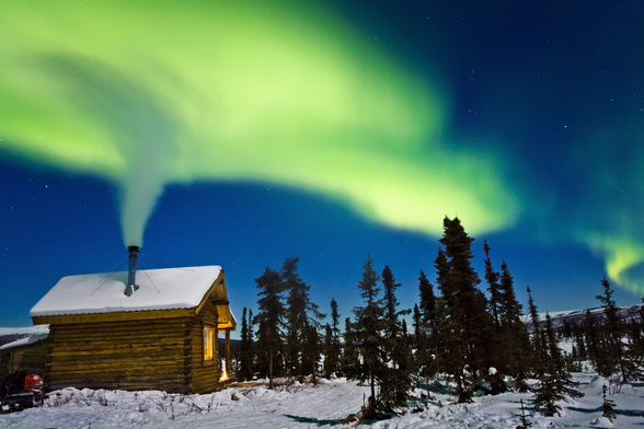 Aurora Over Cabin In The White Mountians mural wallpaper