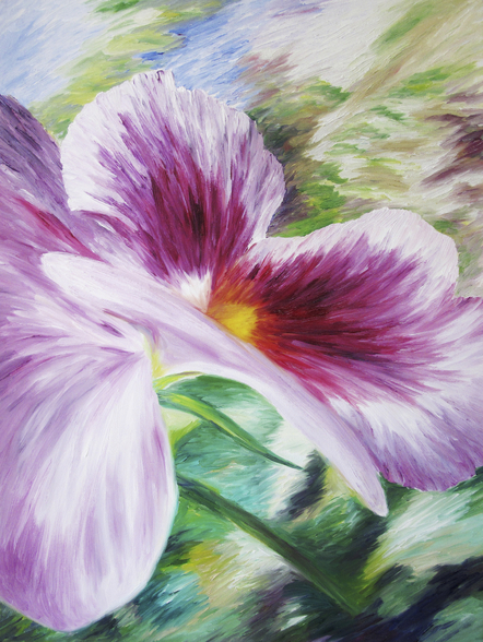 Abstract Painting of a Pansy flower wall mural