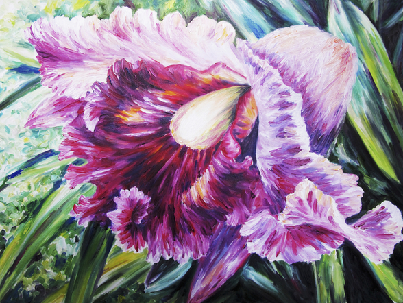 Abstract Pink And Purple Orchid - Oil Painting wall mural
