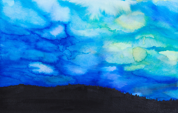 Watercolor painting of a Dramatic Sky with Blue Cloud wallpaper mural