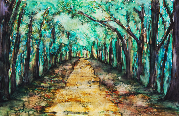 Watercolour Painting of a path lined with Trees wall mural