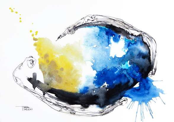 Watercolour Abstract Painting with a Fish Shape wall mural
