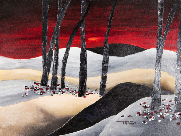Painting of a Dramatic Landscape with Red Sky wall mural