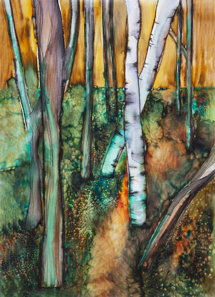 Watercolor Painting of a Colorful Forest wall mural