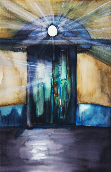 Watercolor Painting of an Opening Door Filled with Light wall mural