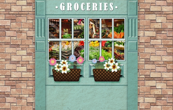 Groceries mural wallpaper