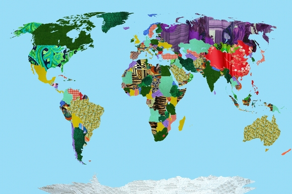 Patchwork World Map wall mural