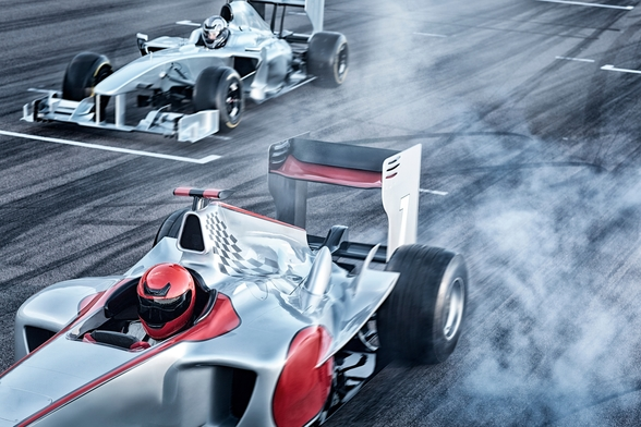 Racing Cars Head to Head mural wallpaper