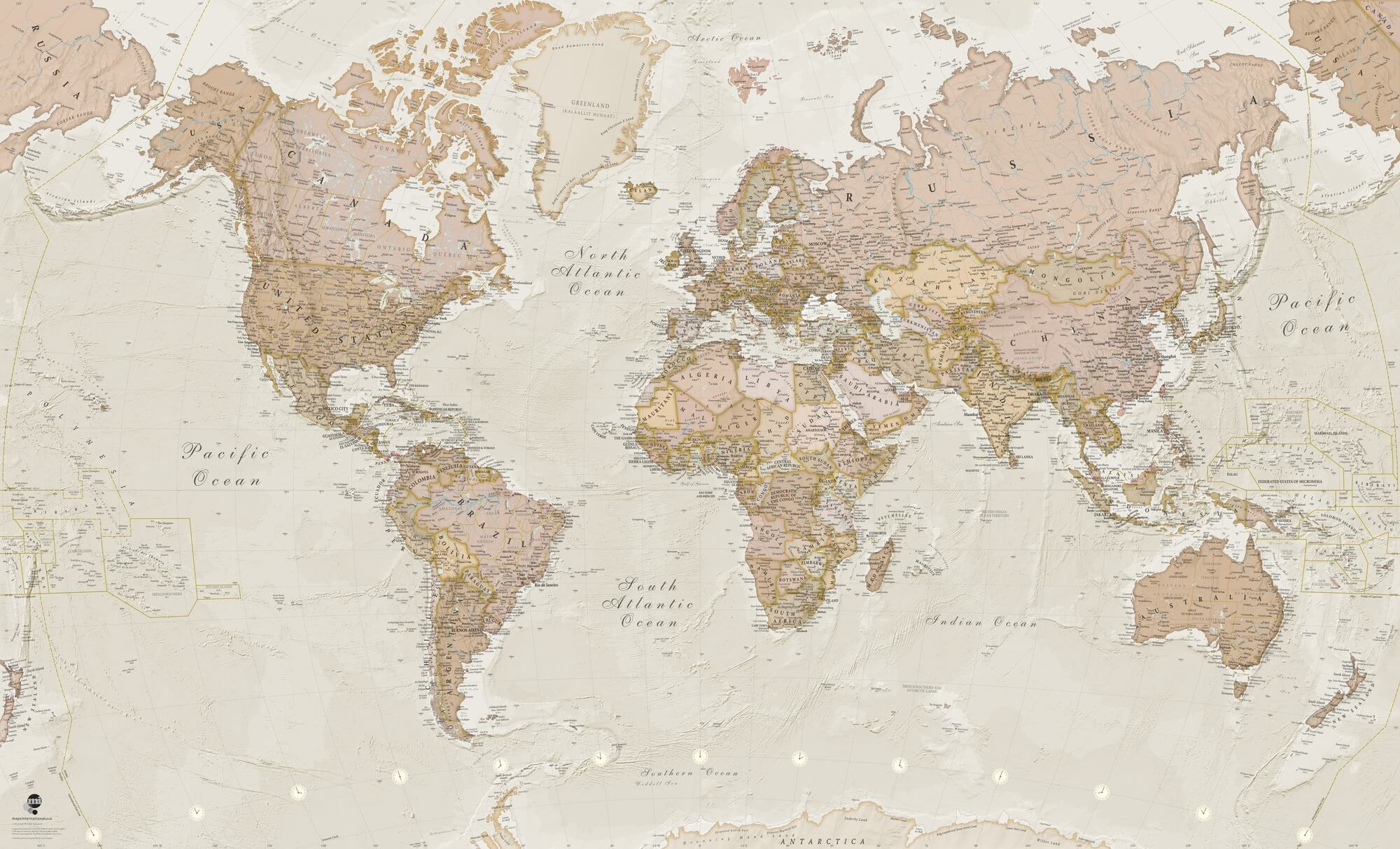 Political World Map Wallpaper - Antique Colours