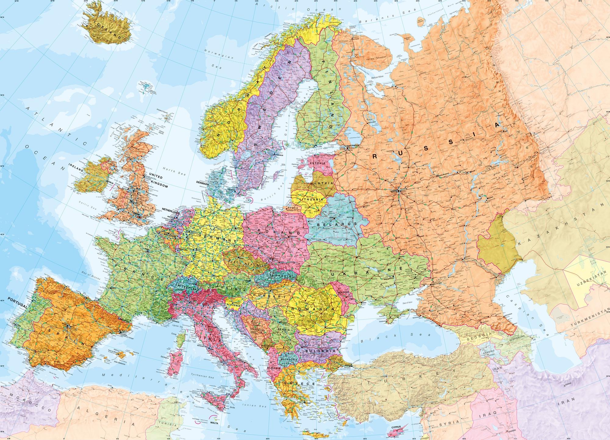 Political Europe Map Wall Mural Photo Wallpaper