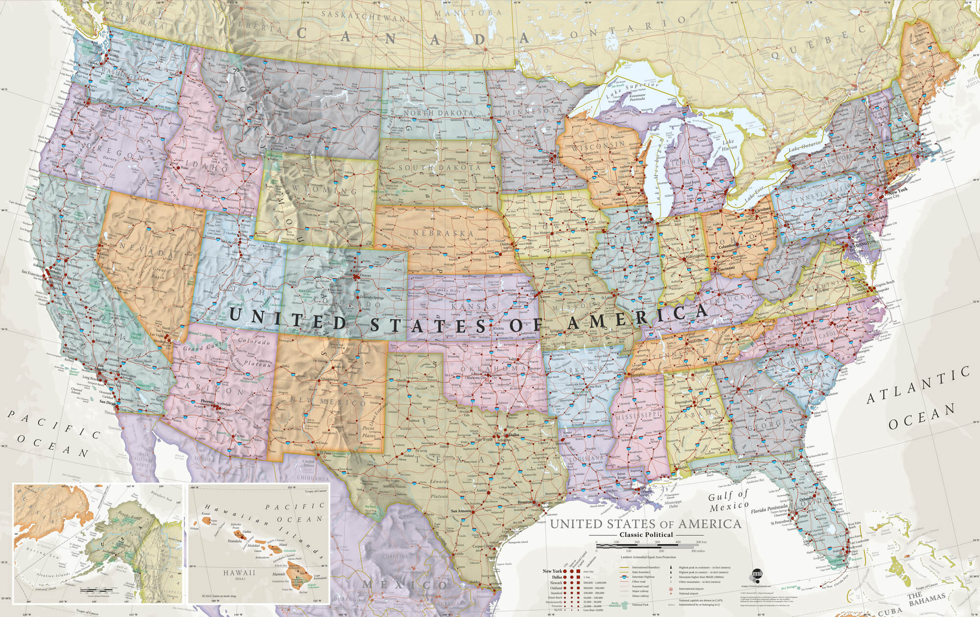 USA Political Classic Colours Wall Mural