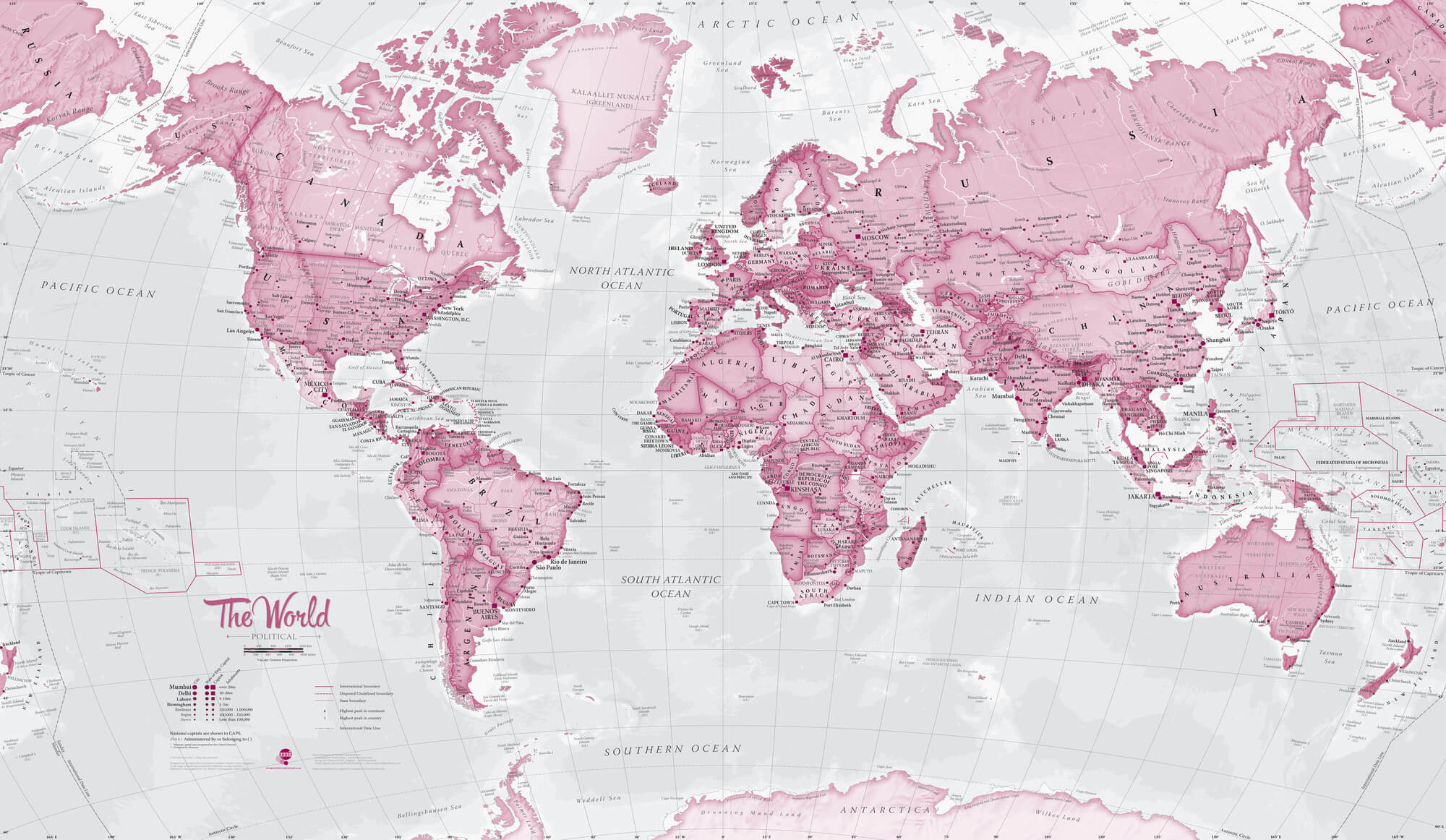 World Political Pink Wall Mural