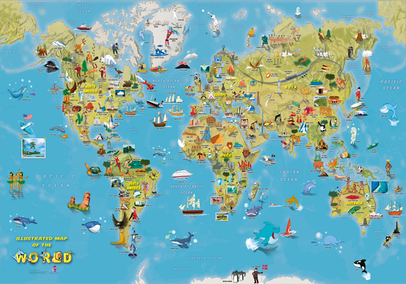 Cartoon World Map with Animals wallpaper mural