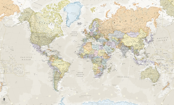 Classic World Map mural wallpaper