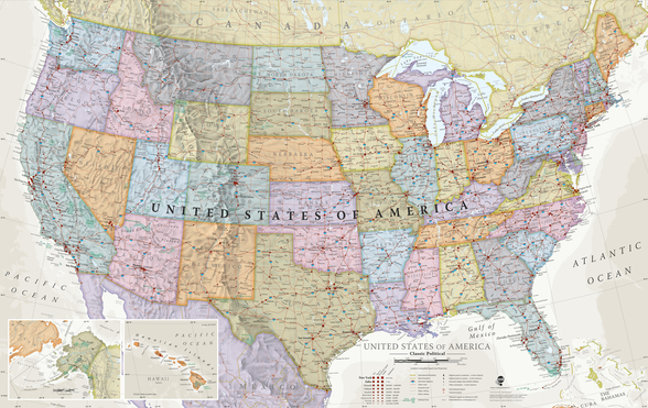 USA Political Map Classic Colours mural wallpaper