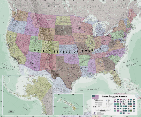 USA Political Map Neutral Colours wall mural