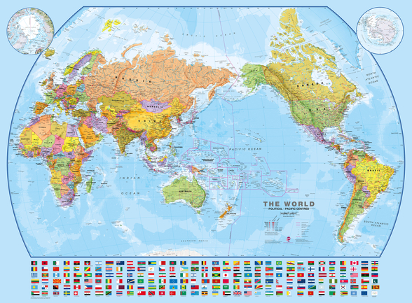 World Map and Flags mural wallpaper