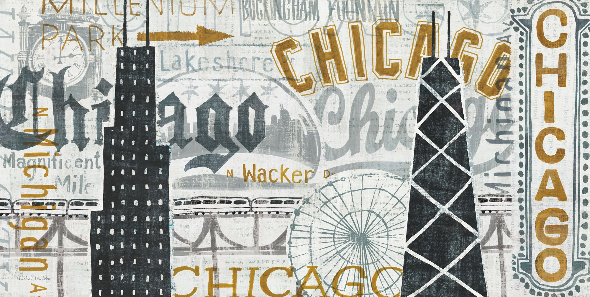 Hey chicago vintage wall mural hey chicago vintage for Antique wallpaper mural