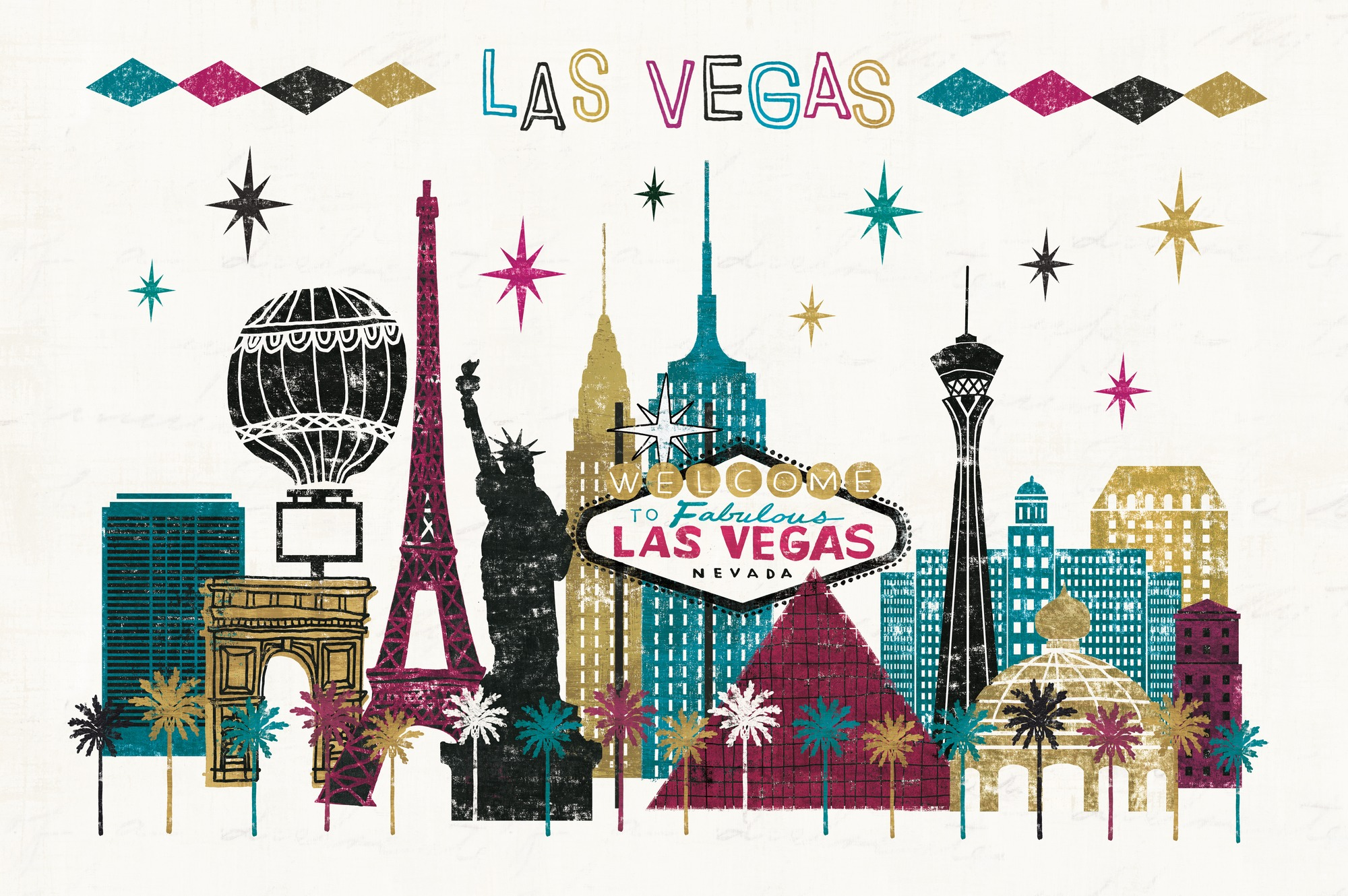 Vegas skyline wall mural vegas skyline wallpaper for Designer mural wallpaper