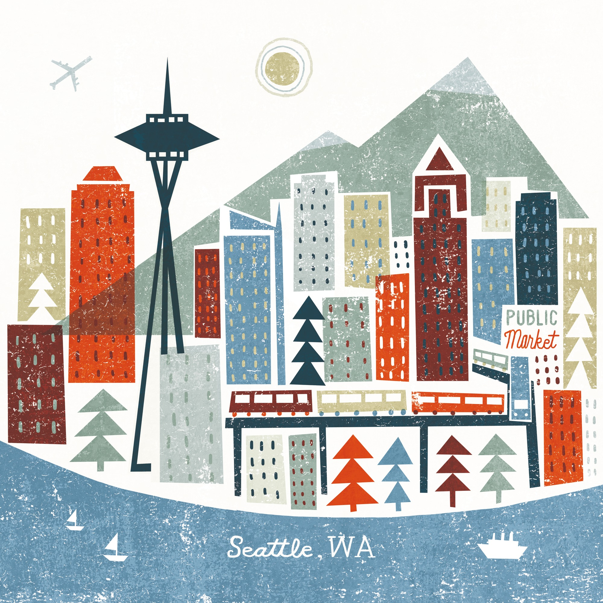 Colourful Seattle Wall Mural & Colourful Seattle Wallpaper ...