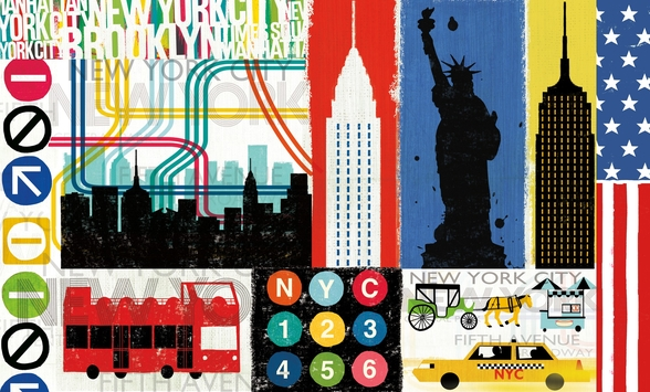 New York City Life IV mural wallpaper