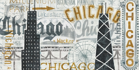 Hey Chicago Vintage wallpaper mural