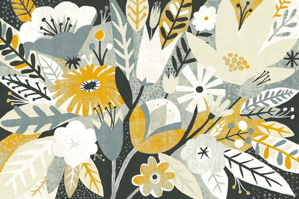Vintage Bouquet Yellow wall mural