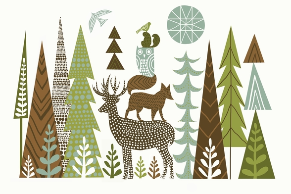 Forest Folklore Green wall mural