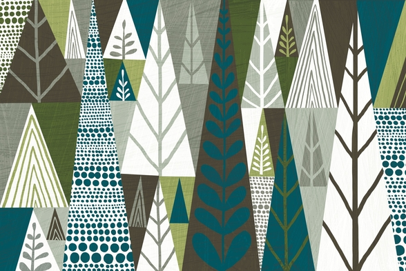 Geometric Forest Green wall mural