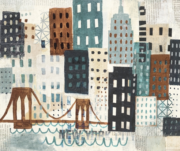 NY Skyline Collage Neutral wallpaper mural