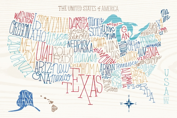 Hand Lettered US Map mural wallpaper