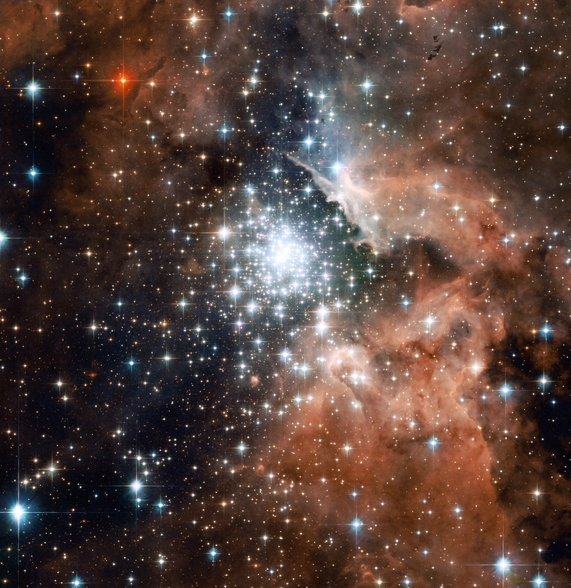 Star Cluster Bursts into Life in New Hubble Image wall mural