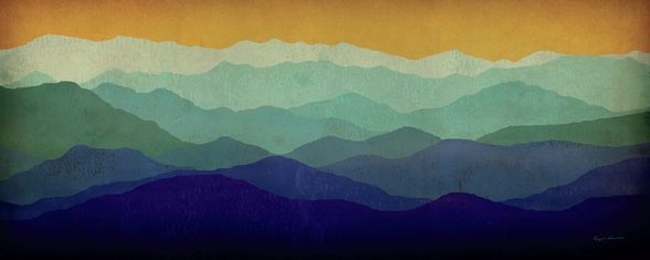 Yellow Sky Mountains wallpaper mural