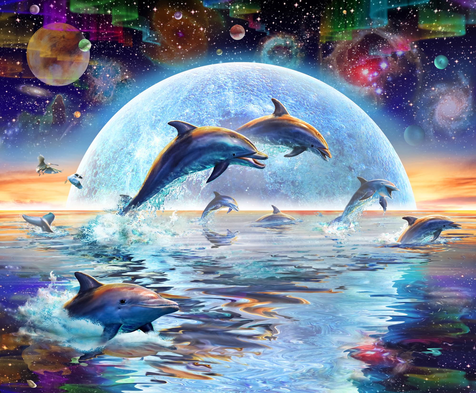 Dolphins by moonlight wall mural dolphins by moonlight for Dolphin mural wallpaper