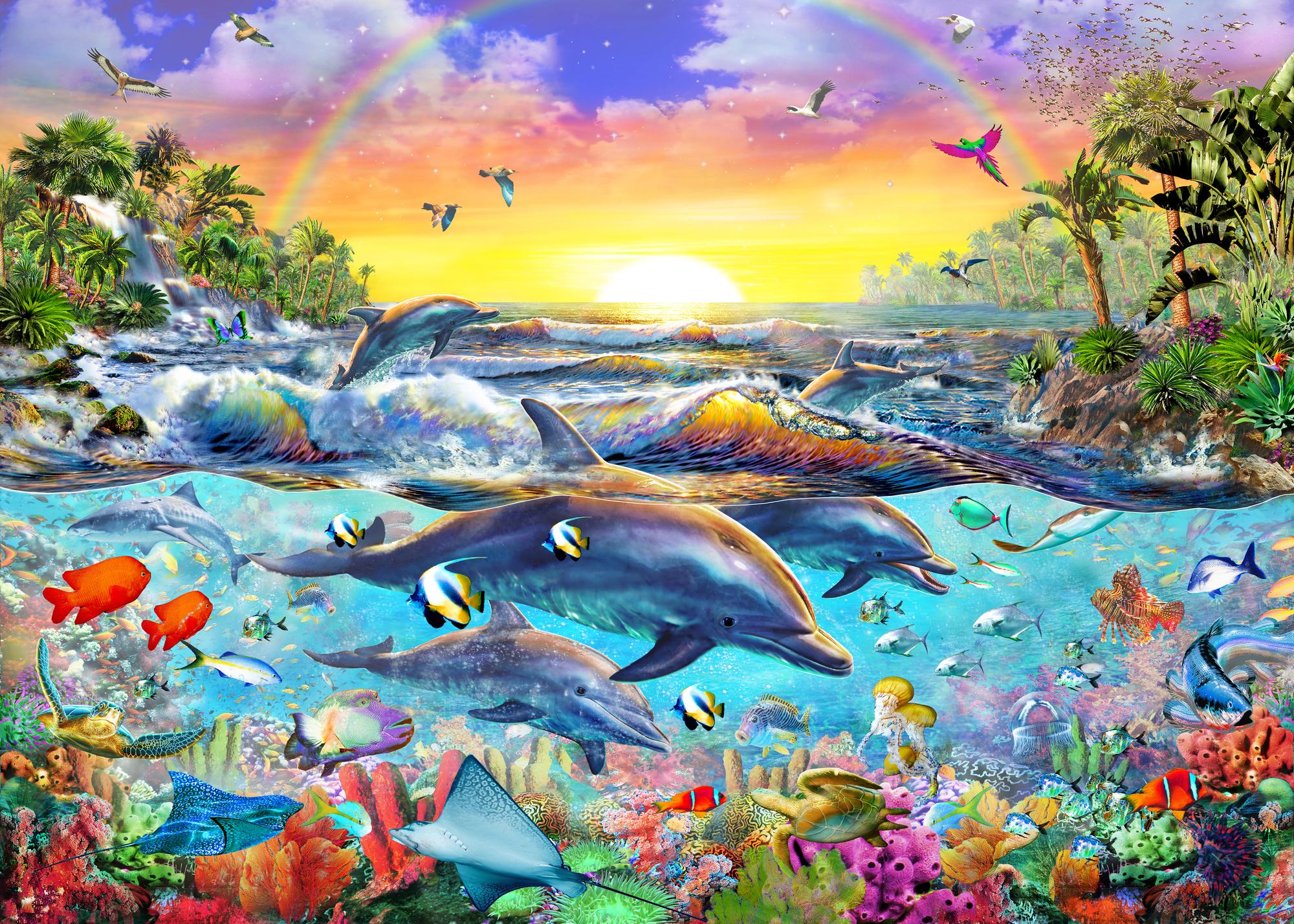 tropical fish wallpaper sea life wall murals wallsauce usa tropical cove mural wallpaper