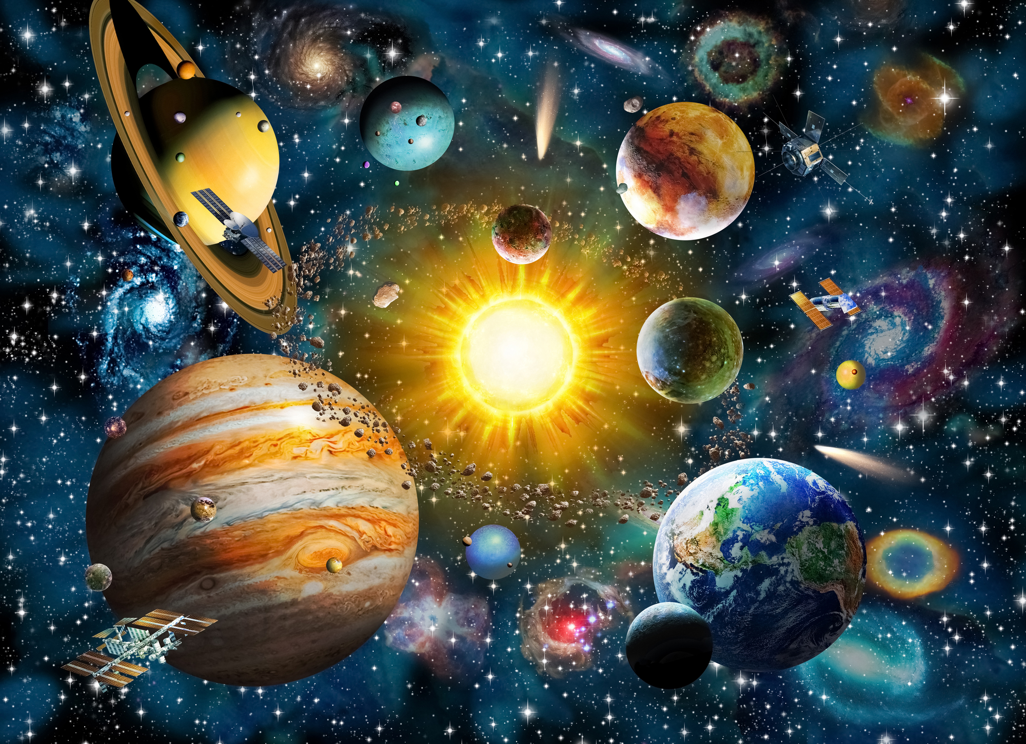 our solar system wall mural our solar system wallpaper wallsauce australia. Black Bedroom Furniture Sets. Home Design Ideas