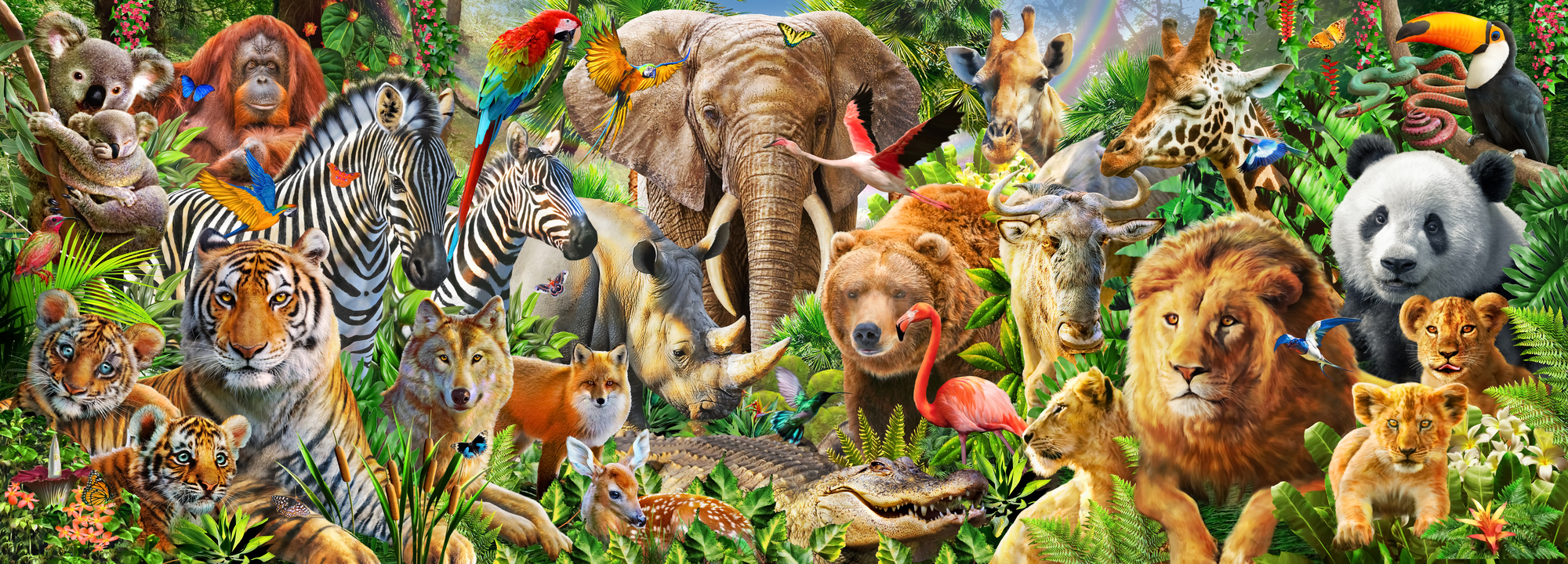 Animal mix panorama wall mural animal mix panorama for Animal wall mural