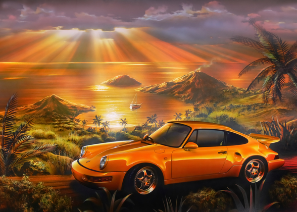 Porsche Beach wallpaper mural